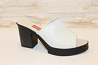 Шлепанцы женские бежевые на каблуке натуральная кожа Б942, фото 1