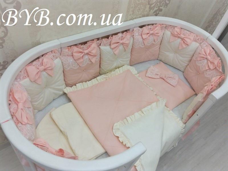 """Комплект постельного белья и бортики """"Молочно-персиковый прованс"""""""