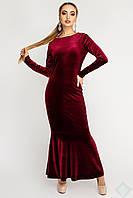 Роскошное велюровое платье Русалка бордовый, фото 1