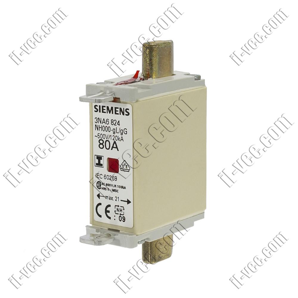 Предохранитель Siemens 3NA6824 NH000-gL/gG 80A 500V