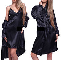 Комплект халат, сорочка №72 черный цвет, стринги