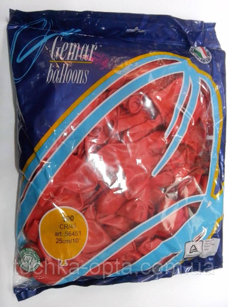 Шары Gemar CR45 10 25 см сердце красное, 50 штук