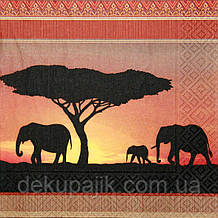 Декупажные салфетки Слоны 8037