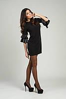 Платье с кожаными воланами на рукавах 454  аи