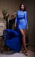 Вечернее платье из гипюра со шлейфом