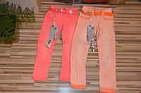 Котоновые брюки для девочек оптом 98-128см