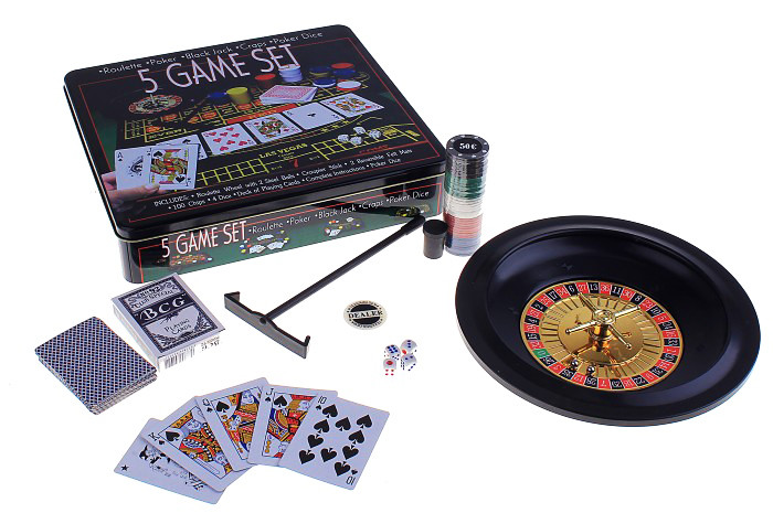 Набір казино 5 ігор в 1 ( рулетка, покер, блекджек, кістки, покер )