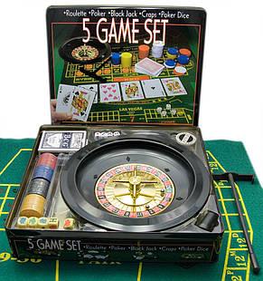 Набір казино 5 ігор в 1 ( рулетка, покер, блекджек, кістки, покер ), фото 2