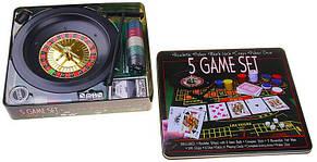 Набір казино 5 ігор в 1 ( рулетка, покер, блекджек, кістки, покер ), фото 3