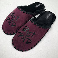 3b68a8170 Мужские тапочки из фетра с надписью Best DAD (марсалового цвета)