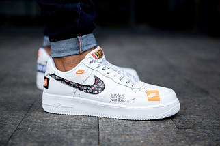 Мужские кроссовки Nike Air Force 1 White Just Do It Pack, фото 2