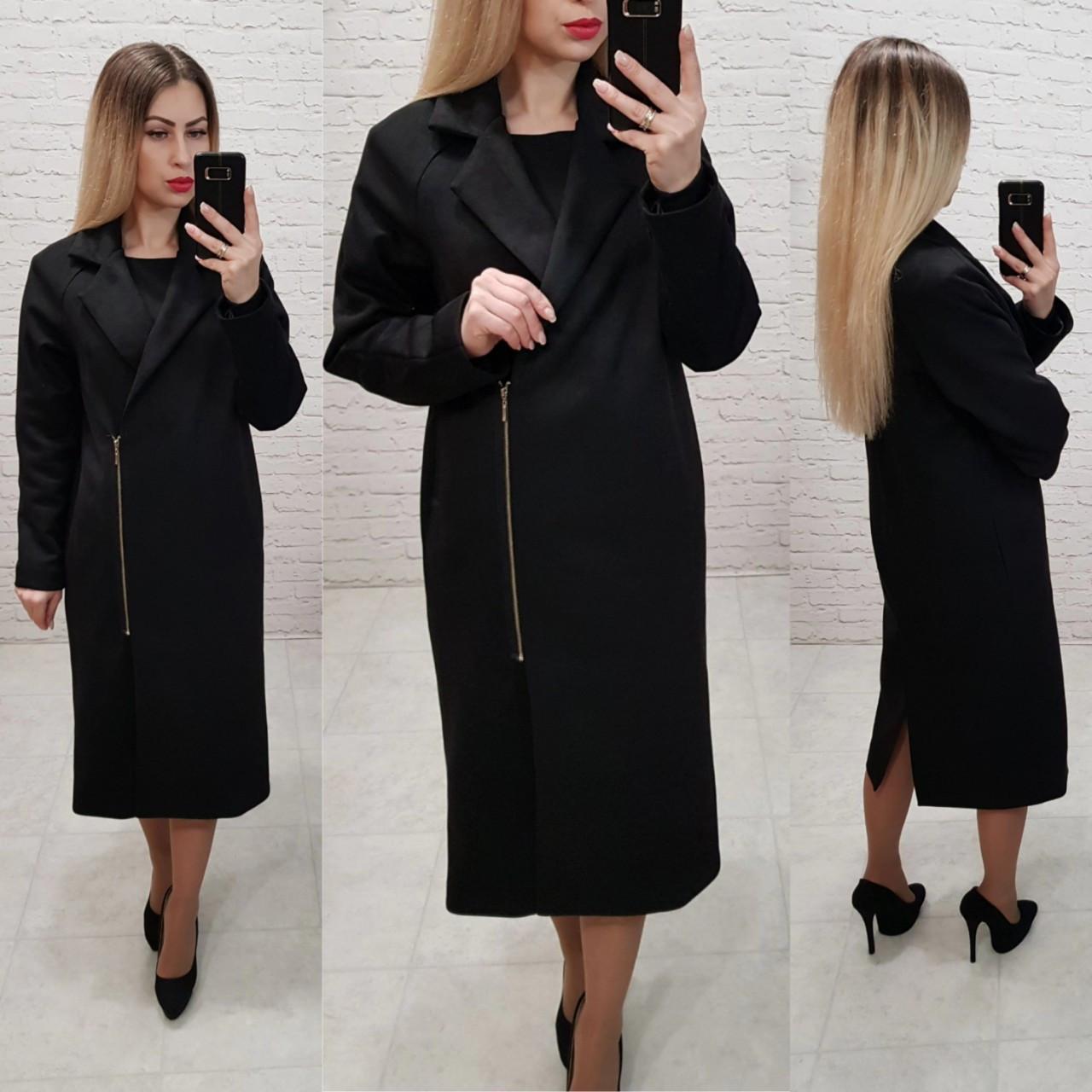 M100 Черное замшевое пальто в классическом стиле
