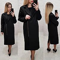 M100 Черное замшевое пальто в классическом стиле, фото 1