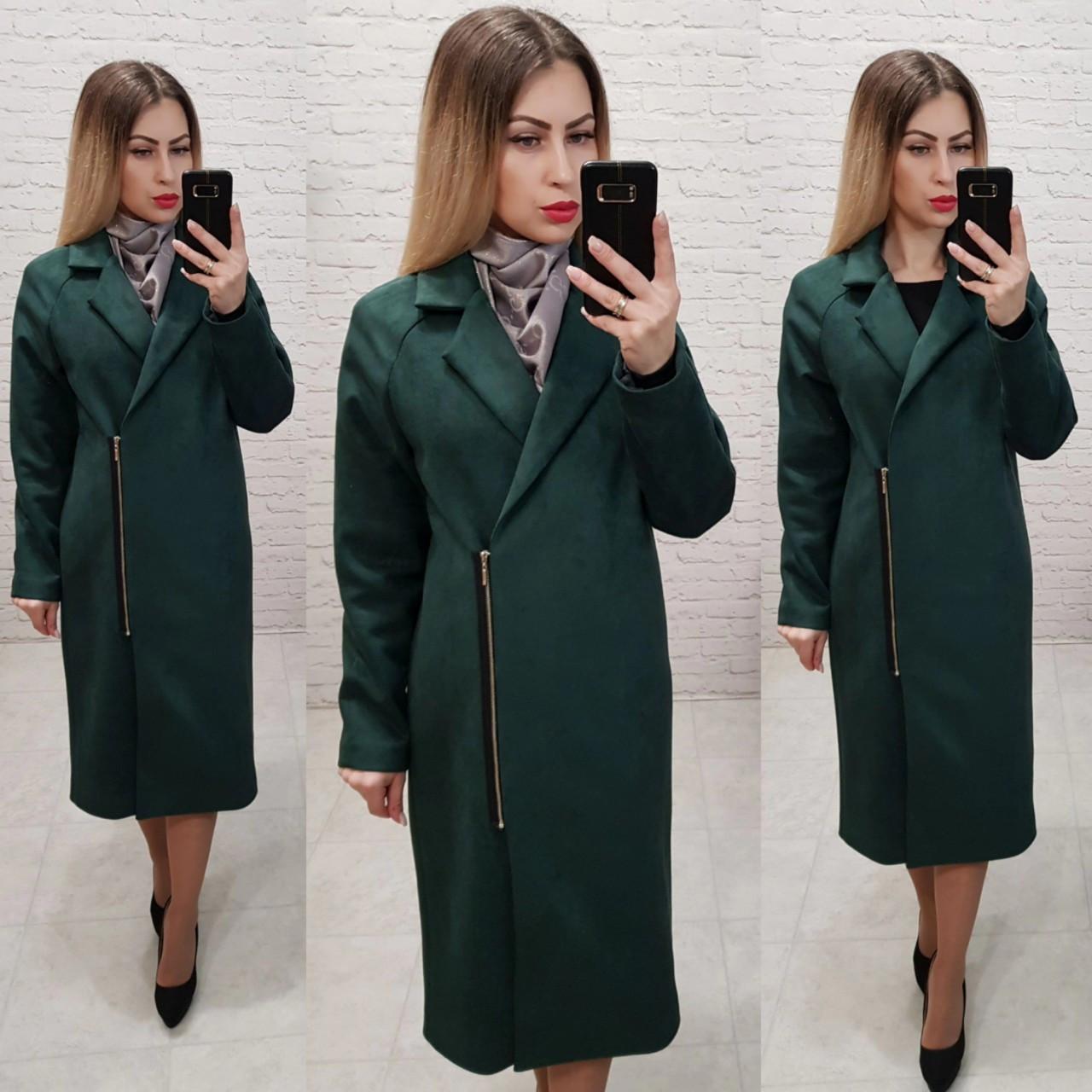 M100 Пальто женское замшевое оверсайз темно - зеленый/ бутылочного цвета