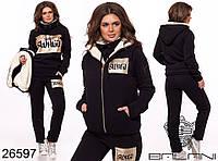 Тёплый женский спортивный костюм тройка SWAG на флисе штаны батник жилетка с мехом чёрный 42 44 46 48 50 52, фото 1