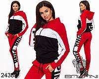 Женский спортивный комбинированный костюм PINK штаны кофта с капюшоном красный 42 44 46, фото 1