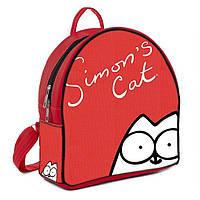 Рюкзак для девочки с принтом кот саймона    Размер:28*25*12 см