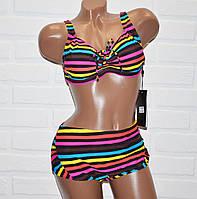 Большой 62 размер 8XL раздельный яркий женский купальник в полоску, на завязках