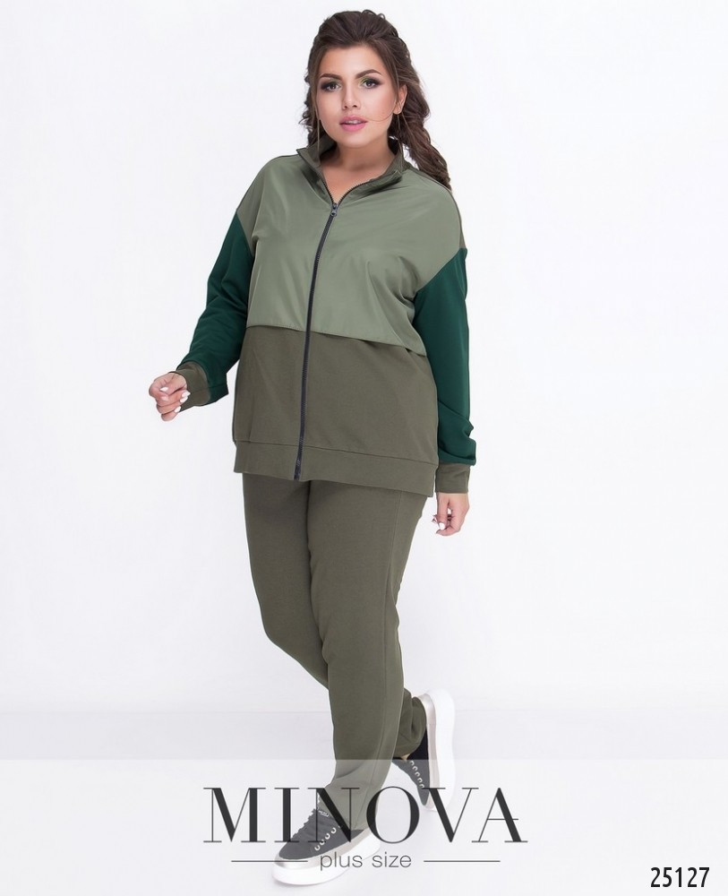 48d5db1b Женский темно-зеленый спортивный костюм-двойка 50 размера - Одежда больших  размеров PlusSize+ в