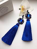 Серьги-кисти из шёлка ручная работа ( синий )