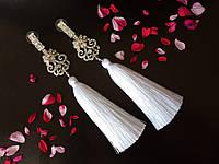 Сережки-кисті з шовку ( білий ) ручної роботи, фото 1