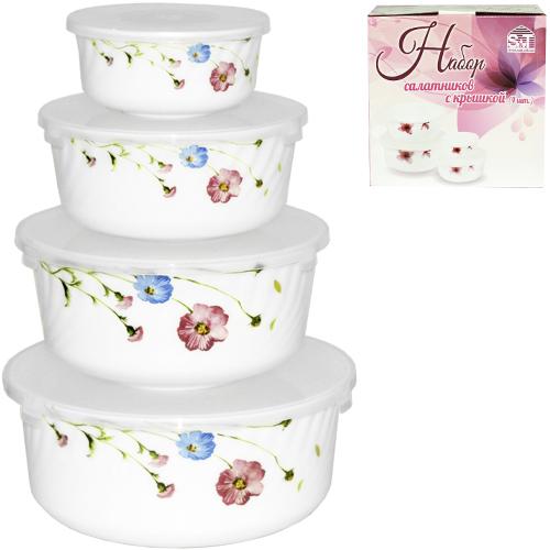 Набор термостойких емкостей/салатников для хранения продуктов 4 шт стеклокерамика Весенние цветы