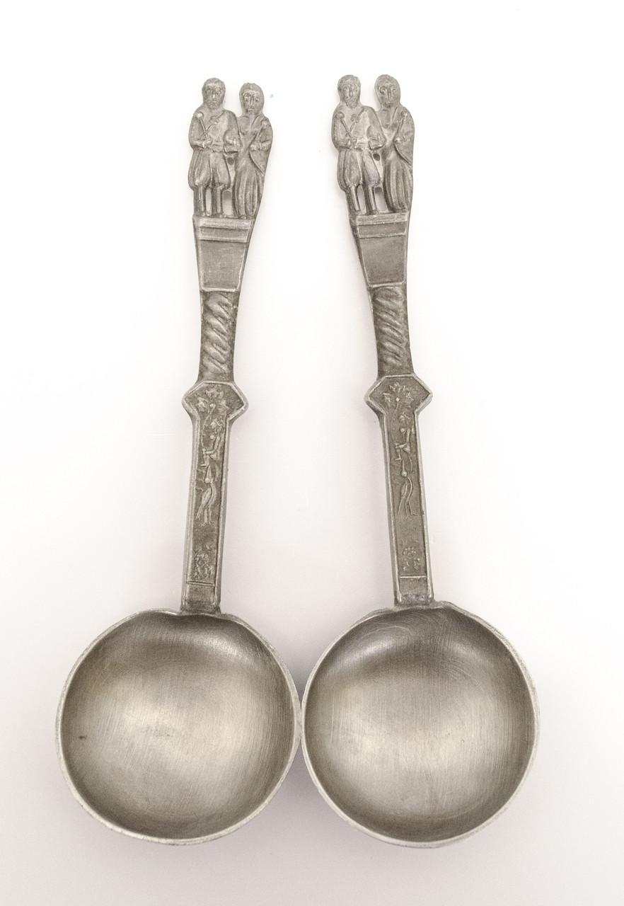 Две коллекционные оловянные ложки, Свадьба, олово, Германия