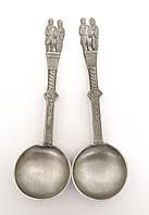Две коллекционные оловянные ложки, Свадьба, олово, Германия, фото 1