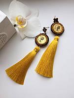 Серьги-кисти из шёлка ручная работа  ( золото )