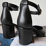 Комфортные туфли Limoda из натуральной кожи босоножки на каблуке 6 см очень красивые цвет черный, фото 6
