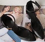 Комфортные туфли Limoda из натуральной кожи босоножки на каблуке 6 см очень красивые цвет черный, фото 3