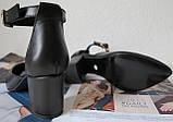 Комфортные туфли Limoda из натуральной кожи босоножки на каблуке 6 см очень красивые цвет черный, фото 4