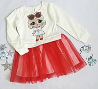"""Платье нарядное """"Лола"""", трикотаж+евросетка и атлас, размер 98-122, молочный+красный"""
