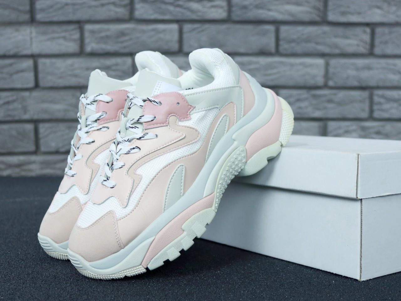 Женские кроссовки Ash Addict Sneakers (бело-розовые)