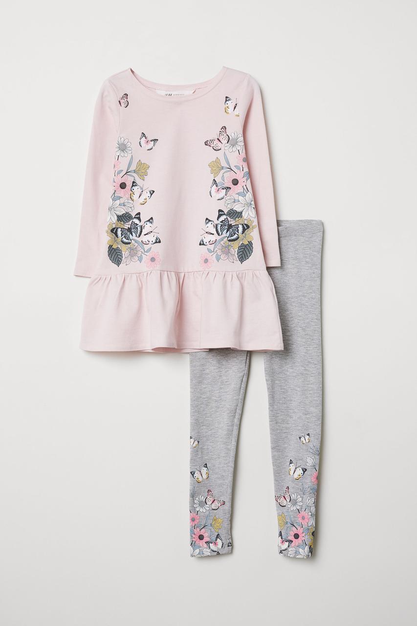 Комплект на девочку с бабочками H&M Швеция Размер 110-116, 122-128