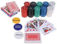 """Покерный подарочный набор""""Texas holdem """" в железном кейсе. Все для покера на 200 фишек, 2 колоды, сукно."""