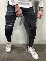 мужские стильные рваные джинсы черные , фото 1