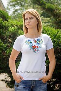 Вишита жіноча футболка Волошки А-7