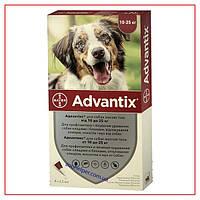 Капли Advantix на 10-25 кг (Адвантикс) для Собак от Клещей, Блох, комаров, москитов (4 пипетки/2,5 мл)