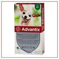 Капли Advantix до 4х кг (Адвантикс) для Собак от Клещей, Блох, комаров, москитов (4 пипетки/0,4 мл)