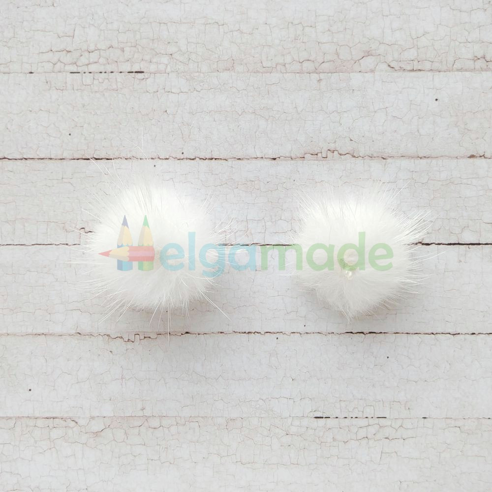 Помпон меховой БЕЛЫЙ, 2.5 см, 1 шт