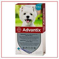 Капли Advantix на 4-10 кг (Адвантикс) для Собак от Клещей, блох, комаров, москитов (4 пипетки/1 мл)