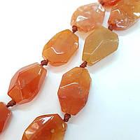 Бусы из натурального камня сердолика, длина изделия около 50 см, натуральные камни, колье, ожерелье, коричневые