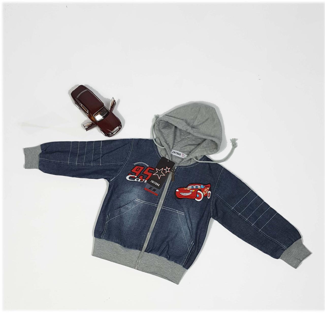 Куртка для мальчика  9522 (джинсовая тачка) весна-осень, размеры на рост от 74 до 98 возраст от 1 до 4 лет