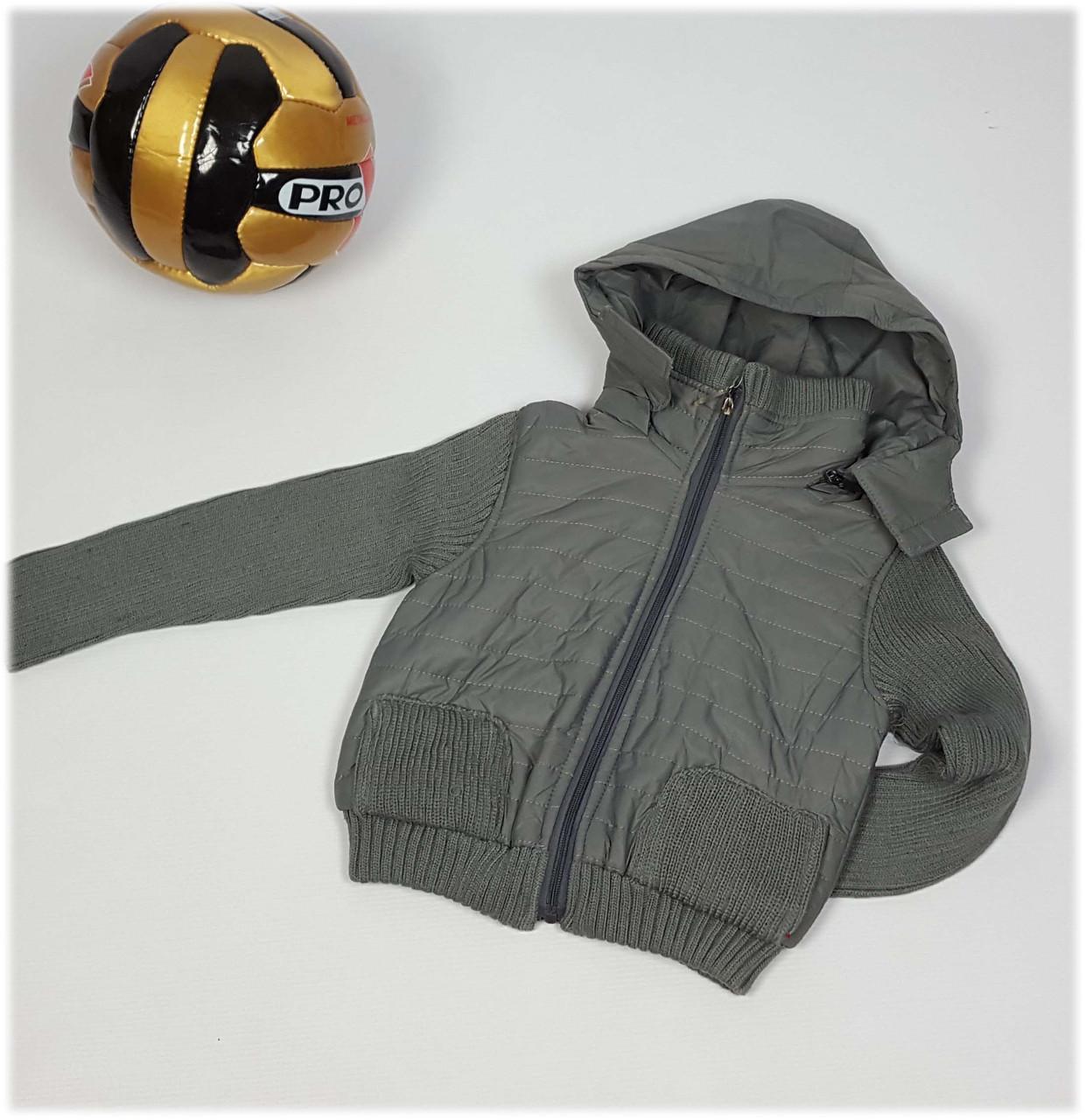 Куртка для мальчика 1372  (Вязанный рукав) весна-осень, размеры 98 до 116 возраст, от 3 до 5 лет, хаки