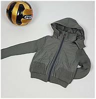 Куртка для мальчика 1372  (Вязанный рукав) весна-осень, размеры 98 до 116 возраст, от 3 до 5 лет, хаки, фото 1