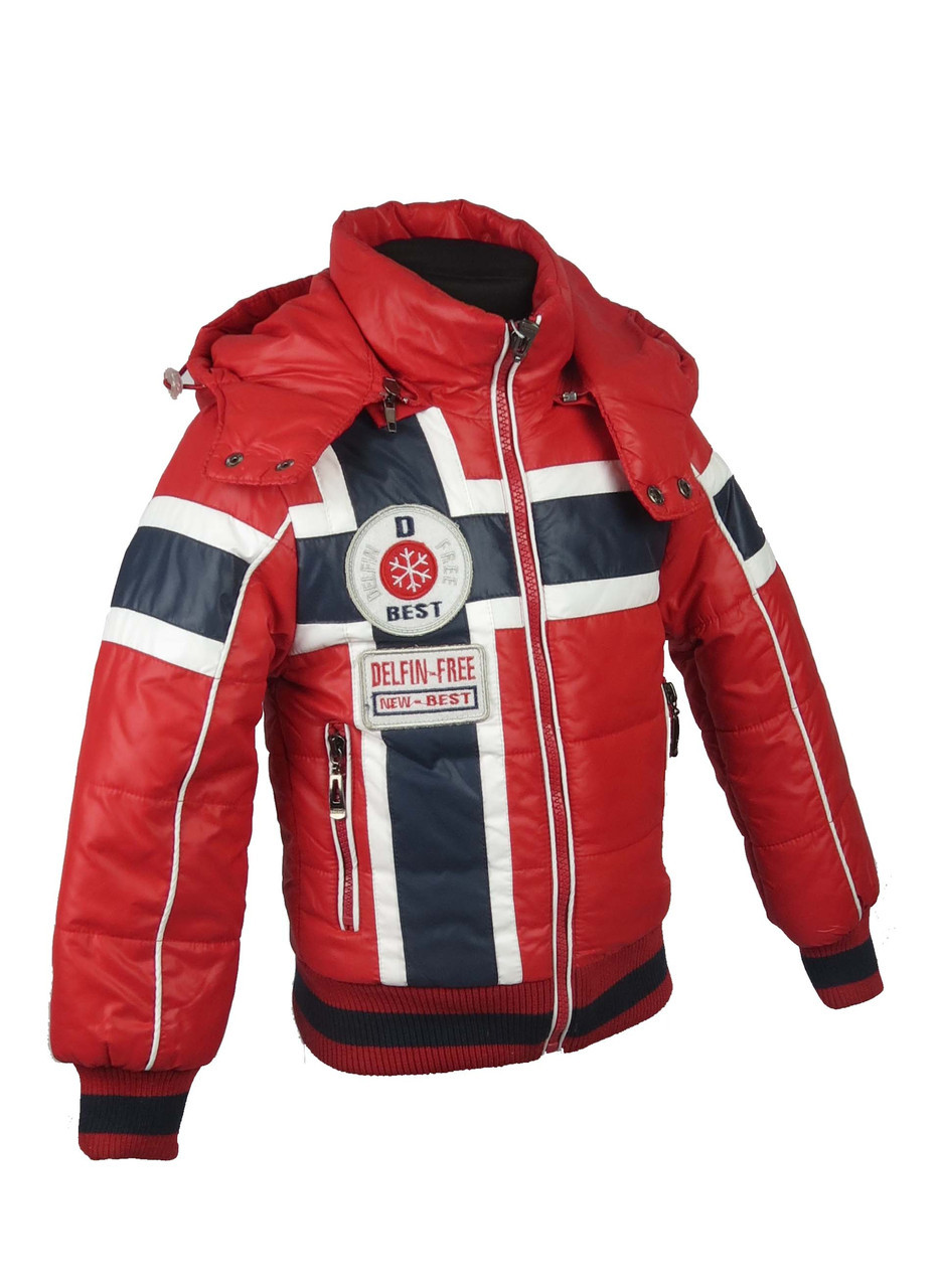 Демисезонная куртка для мальчиков, теплая,размеры с 86-116, цвет красный