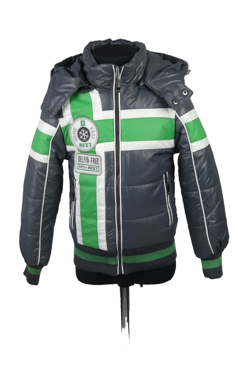 Демисезонная куртка для мальчиков, теплая,размеры с 116-140, цвет зеленый
