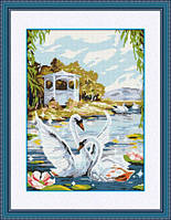 Набор для рисования камнями (холст) Лебединая пара LasKo