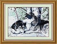 Набор для рисования камнями (холст) Пара волков LasKo